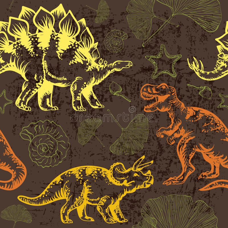 Juradinosaurus Naadloos vectorpatroon vector illustratie