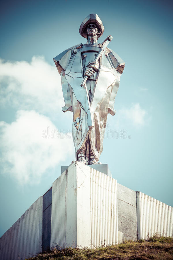 Juraj Janosik -斯洛伐克拦路强盗雕象  库存图片