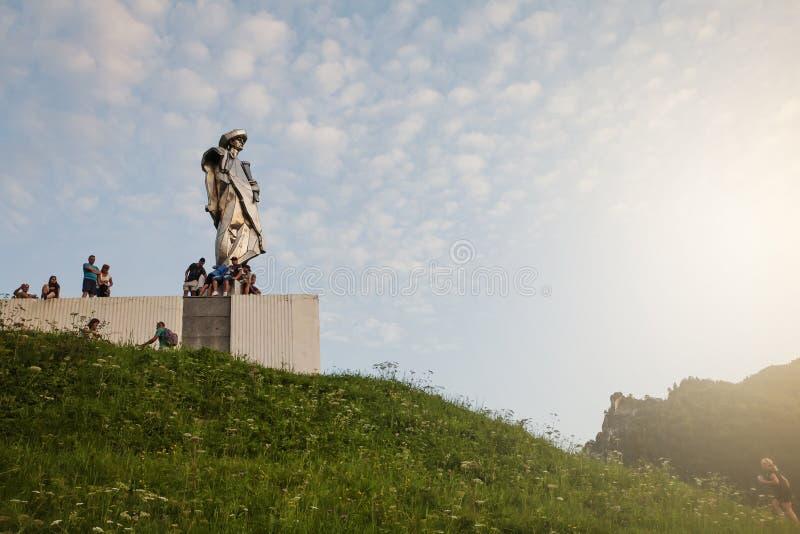 Juraj Janosik statue view, Terchova town royalty free stock photography
