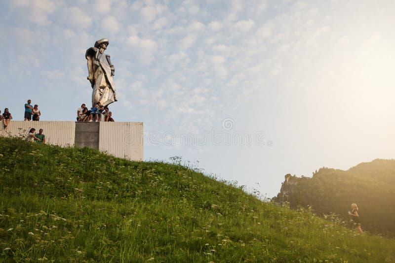 Juraj Janosik statue view, Terchova town stock photos