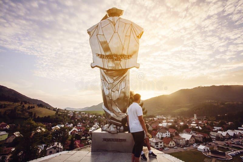 Juraj Janosik statue view, Terchova town royalty free stock images