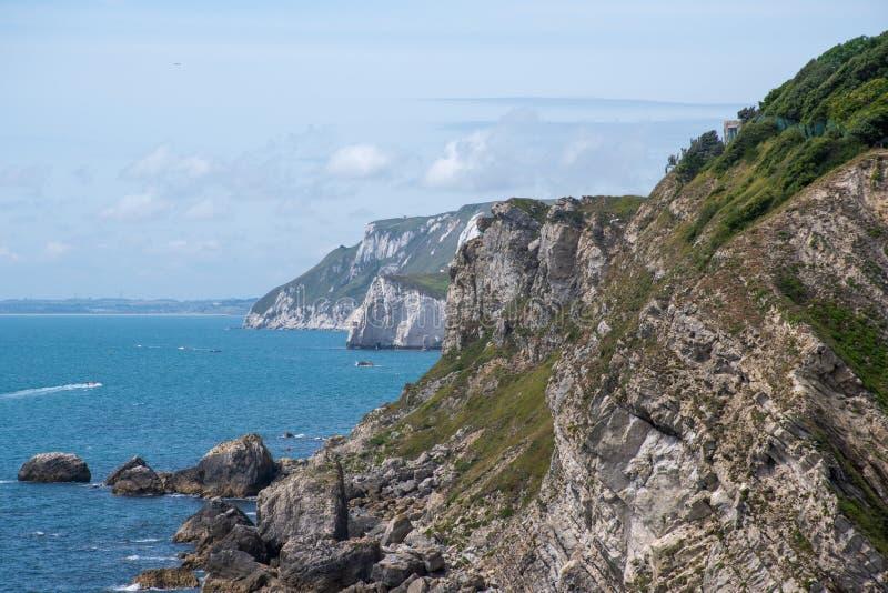 Jurajska falezy linia brzegowa Dorset UK obraz stock