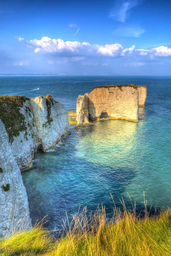 Juraküstenkreide stapelt alten Harry Rocks Dorset England Großbritannien östlich Studland wie eine Malerei stockfotografie