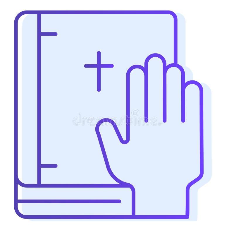 Juramento en icono plano de la biblia El jurar en iconos azules del libro en estilo plano de moda Diseño honesto del estilo de la ilustración del vector