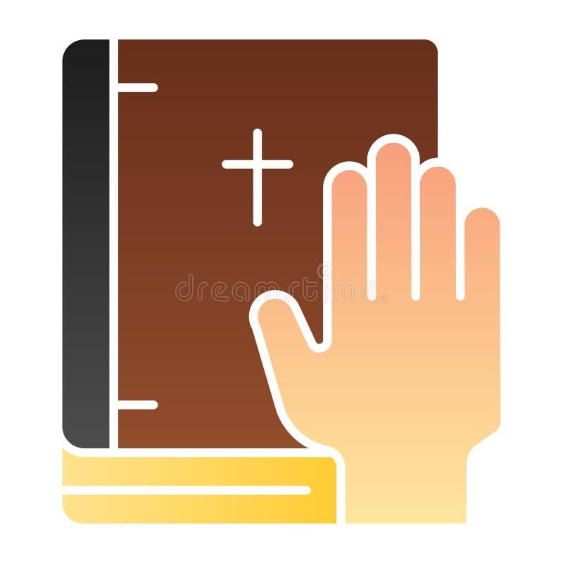 Juramento en icono plano de la biblia El jurar en iconos del color del libro en estilo plano de moda Dise?o honesto del estilo de libre illustration