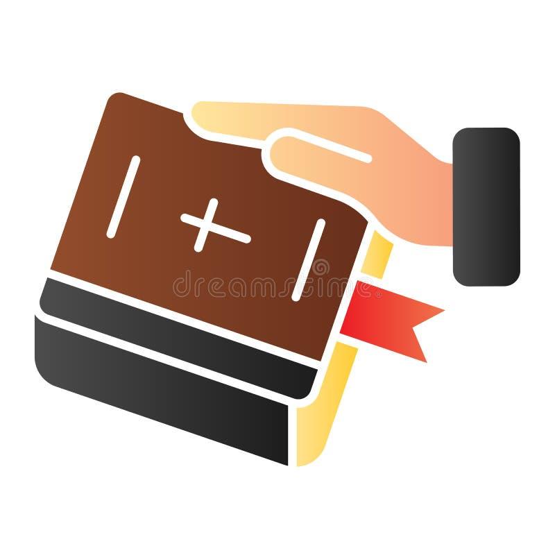 Juramento en icono plano de la biblia Mano en iconos del color del libro en estilo plano de moda Jure el diseño del estilo de la  libre illustration