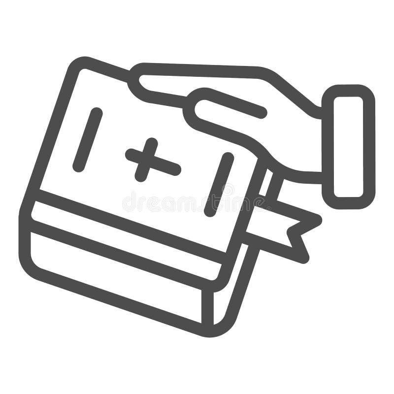 Juramento en la línea icono de la biblia Mano en el ejemplo del vector del libro aislado en blanco Jure el diseño del estilo del  ilustración del vector