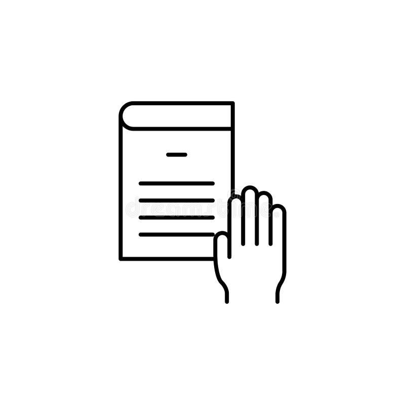 Juramento, mão, ícone do livro Elemento do ícone da lei e da justiça Linha fina ícone para o projeto do Web site e o desenvolvime ilustração stock