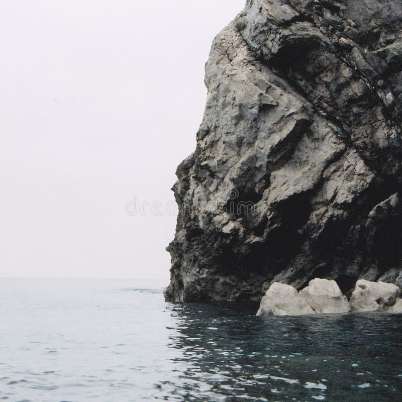 Jurassic Coast - sheer rock against the cold sea stock image