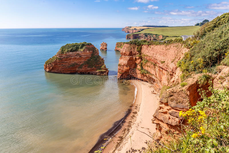 Jurassic Coast in summer. Travelling at Jurassic coast seaside (Devon), UK royalty free stock photos