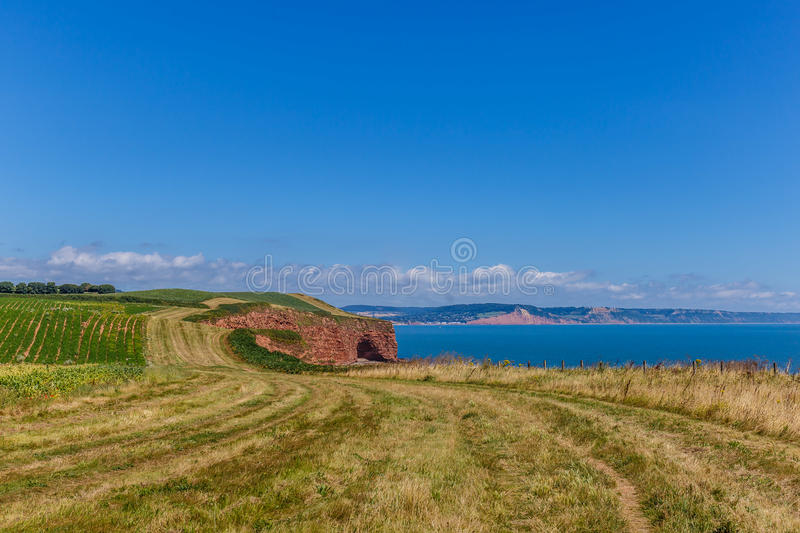 Jurassic Coast in summer. Travelling at Jurassic coast seaside (Devon), UK royalty free stock images