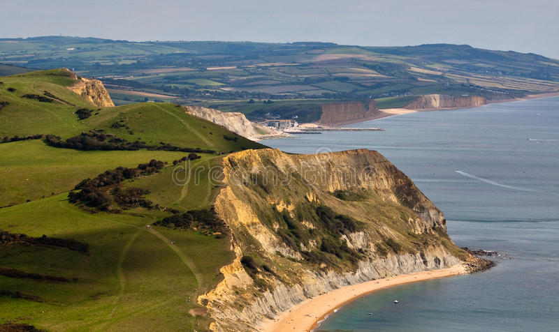 Jurassic Coastline from Golden Cap. A landscape view of the Jurassic Coastline from Golden Cap royalty free stock images