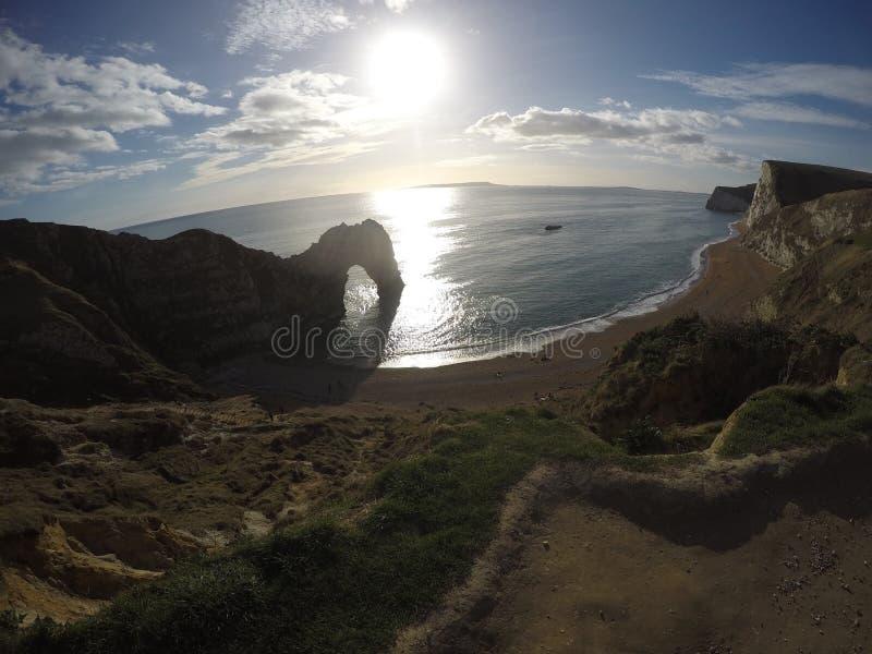 Jurassic kust nära Lulworth royaltyfri bild