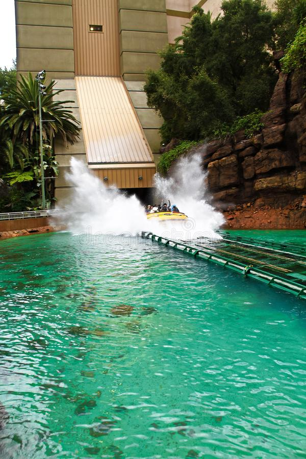 Jurassic Park the Ride. LOS ANGELES,CA/USA - Oct 21 2016: Water attraction of the Jurassic Park the Ride in the Universal Studios Hollywood . Jurassic Park is a royalty free stock photos