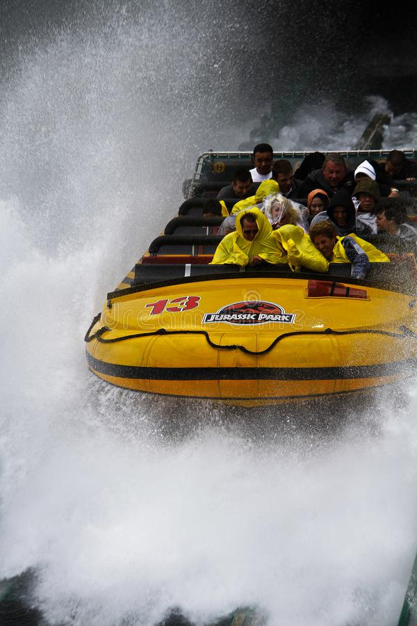 Jurassic Park the Ride. LOS ANGELES,CA/USA - Oct 21 2016: Water attraction of the Jurassic Park the Ride in the Universal Studios Hollywood . Jurassic Park is a stock photos