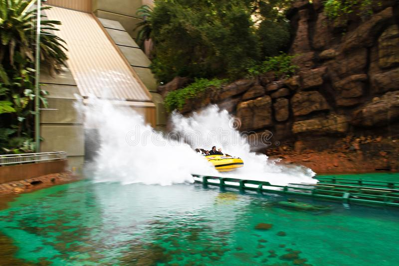 Jurassic Park the Ride. LOS ANGELES,CA/USA - Oct 21 2016: Water attraction of the Jurassic Park the Ride in the Universal Studios Hollywood . Jurassic Park is a stock images