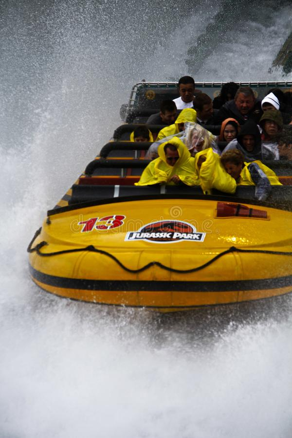 Jurassic Park the Ride. LOS ANGELES,CA/USA - Oct 21 2016: Water attraction of the Jurassic Park the Ride in the Universal Studios Hollywood . Jurassic Park is a stock photography