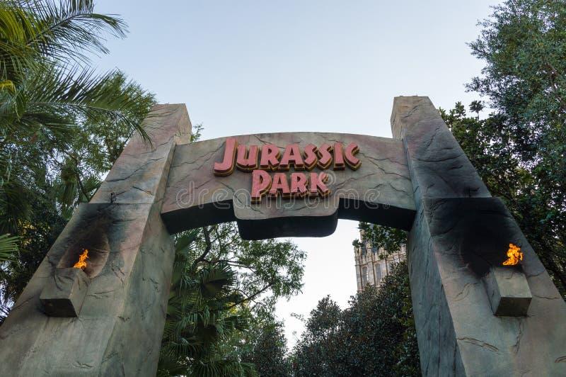 Jurassic Park Ride. ORLANDO, USA - NOVEMBER 1, 2016: Entrance to Jurassic Park ride. Universal Studios Orlando is a theme park resort in Orlando, Florida, USA royalty free stock photography