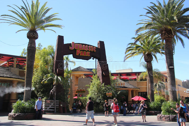 Jurassic Park Ride at Universal Studios Hollywood. Los Angeles, California, USA - March 12, 2015: Scenery of Jurassic Park The Ride at the lower lot of Universal royalty free stock photos