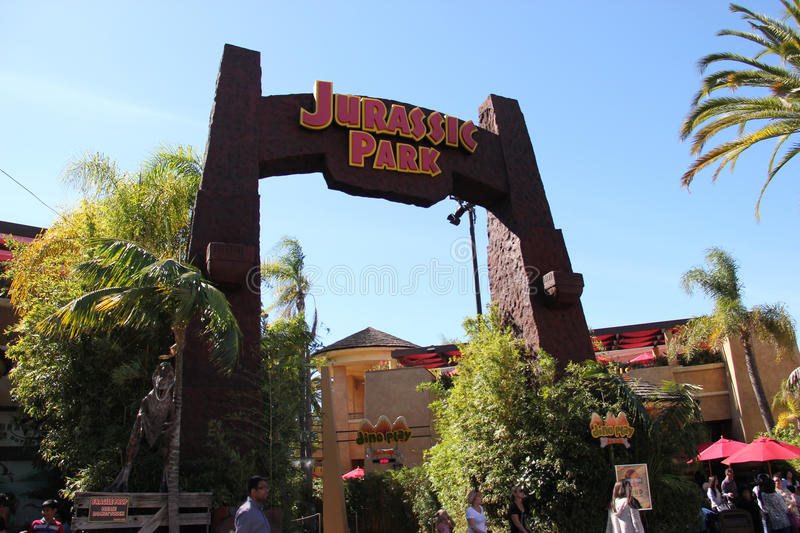 Jurassic Park Ride at Universal Studios Hollywood. Los Angeles, California, USA - March 12, 2015: Scenery of Jurassic Park The Ride at the lower lot of Universal royalty free stock photo