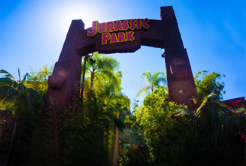 Universal Studio Jurassic Park. Jurassic Park at Universal Studios California. Meet Blue the Velociraptor and the friendly Triceratops at the Raptor Encounter stock photo