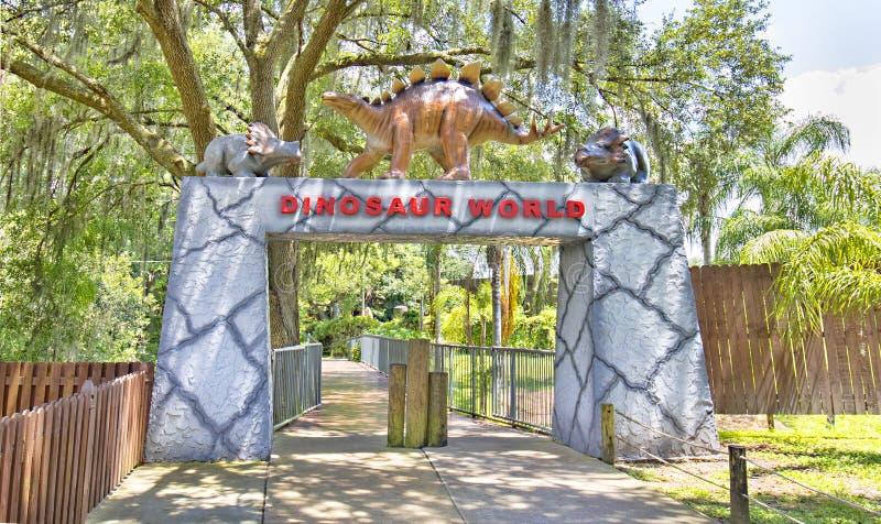 Jurassic Themed Gate At Dinosaur World. In Florida stock image