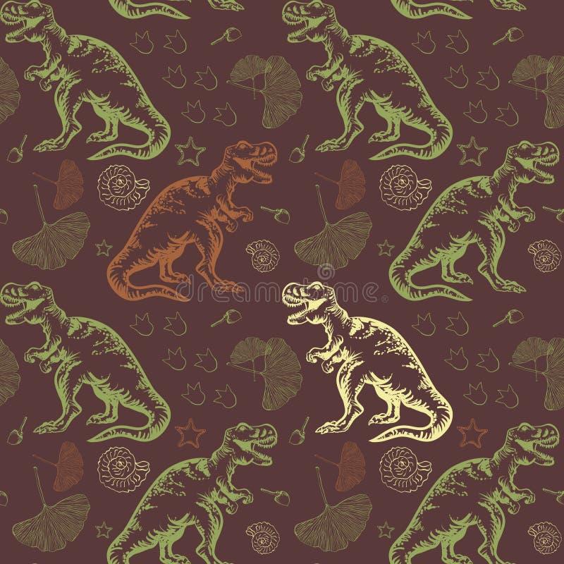 Jurassic tyrannosarierex 1866 baserde vektorn för treen Charles Darwin för den evolutions- bilden den seamless vektor illustrationer