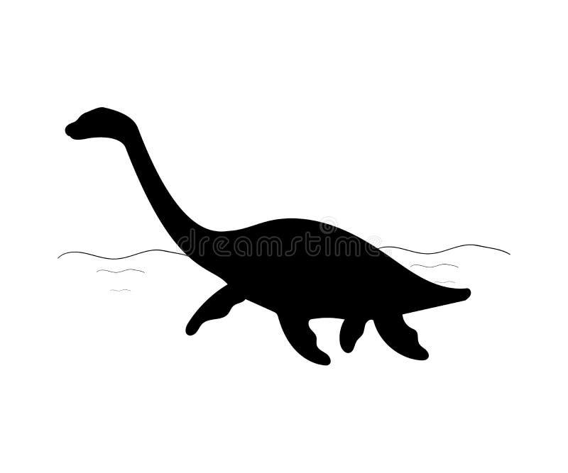 Jurassisches prähistorisches Tier des Schattenbild Plesiosaurus-Dinosauriers lizenzfreie abbildung