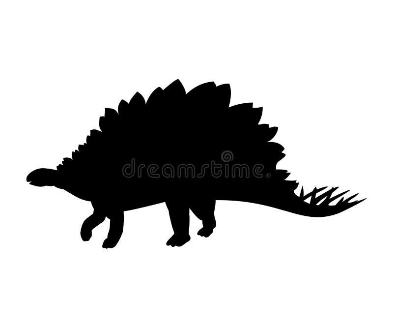 Jurassisches prähistorisches Tier des Schattenbild Stegosaurus-Dinosauriers vektor abbildung