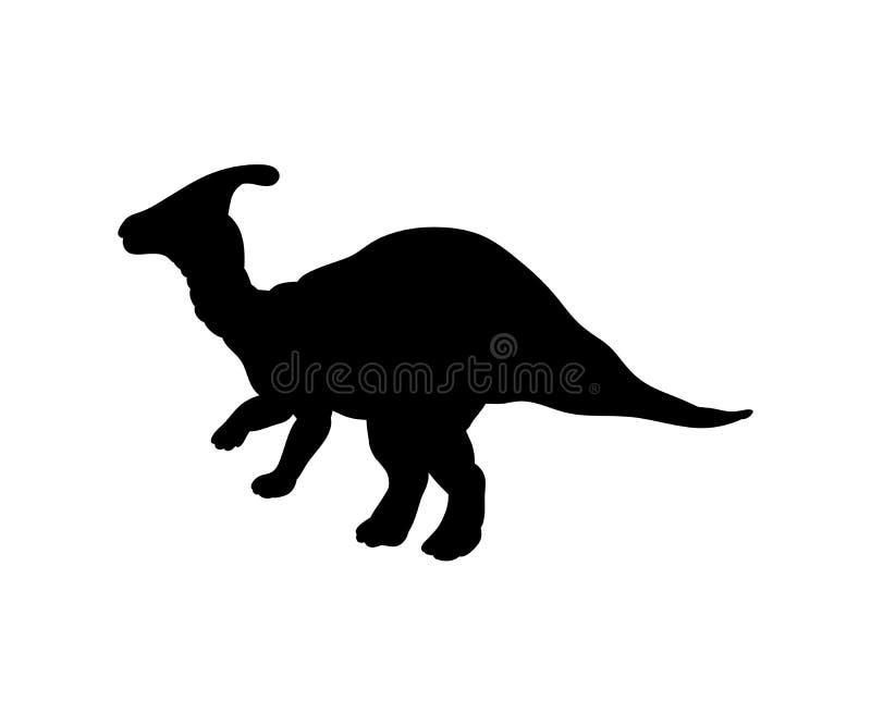 Jurassisches prähistorisches Tier Schattenbild Parasaurolophus-Dinosauriers vektor abbildung