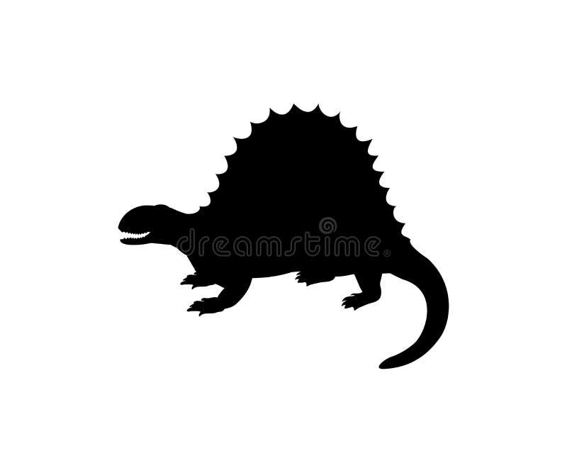 Jurassisches prähistorisches Tier Schattenbild Spinosaurus-Dinosauriers vektor abbildung