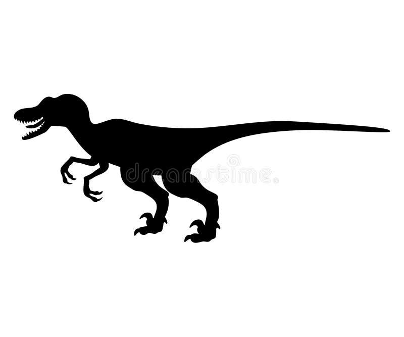 Jurassisches prähistorisches Tier Schattenbild Velyciraptor-Dinosauriers stock abbildung
