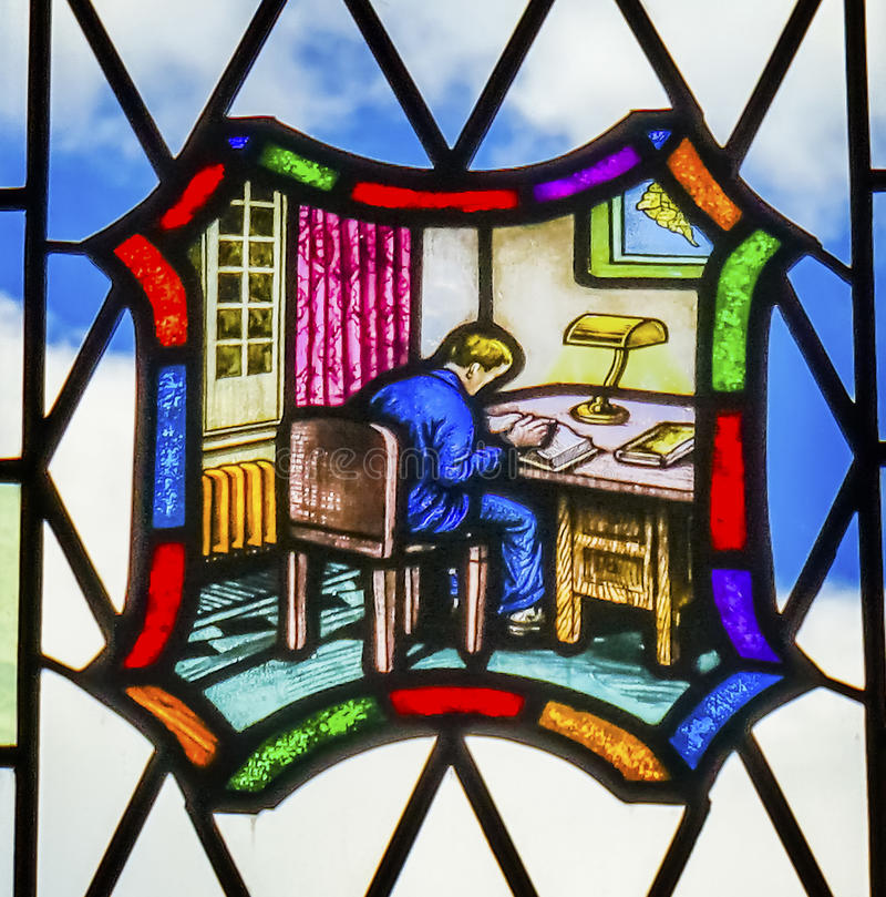 Jurastudent-Stained Glass Law-Bibliothek Yale University New Haven Connecticut stockbild