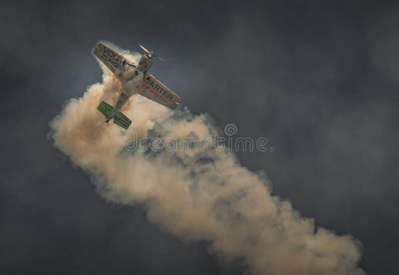 Jurgis Kairys performing aerial acrobatics at BIAS 2019 stock photos