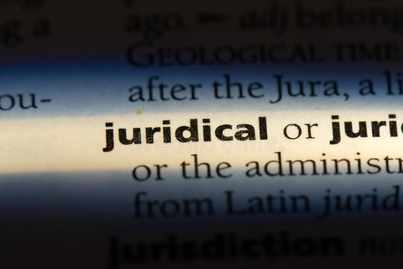 Juridical. Word in a dictionary.  concept royalty free stock photography