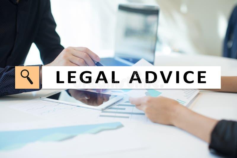 Juridisch advies Ext. op het virtuele scherm consulting Advocaat advocaat, Bedrijfs en Financiënconcept royalty-vrije stock afbeeldingen