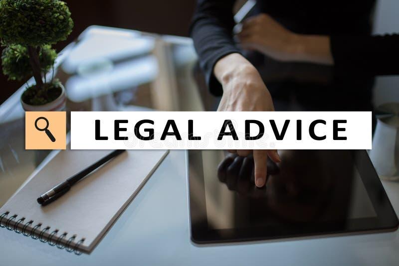 Juridisch advies Ext. op het virtuele scherm consulting Advocaat advocaat, Bedrijfs en Financiënconcept stock fotografie