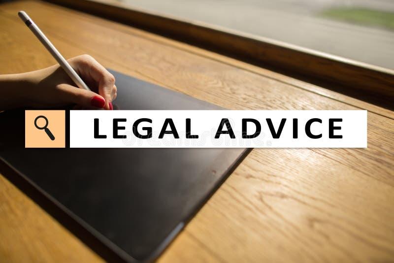 Juridisch advies Ext. op het virtuele scherm consulting Advocaat advocaat, Bedrijfs en Financiënconcept royalty-vrije stock foto's