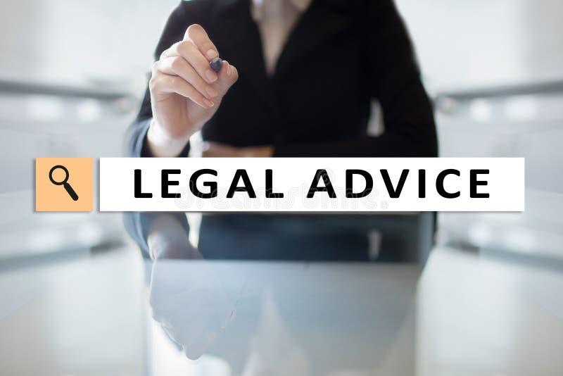 Juridisch advies Ext. op het virtuele scherm consulting Advocaat advocaat, Bedrijfs en Financiënconcept royalty-vrije stock afbeelding
