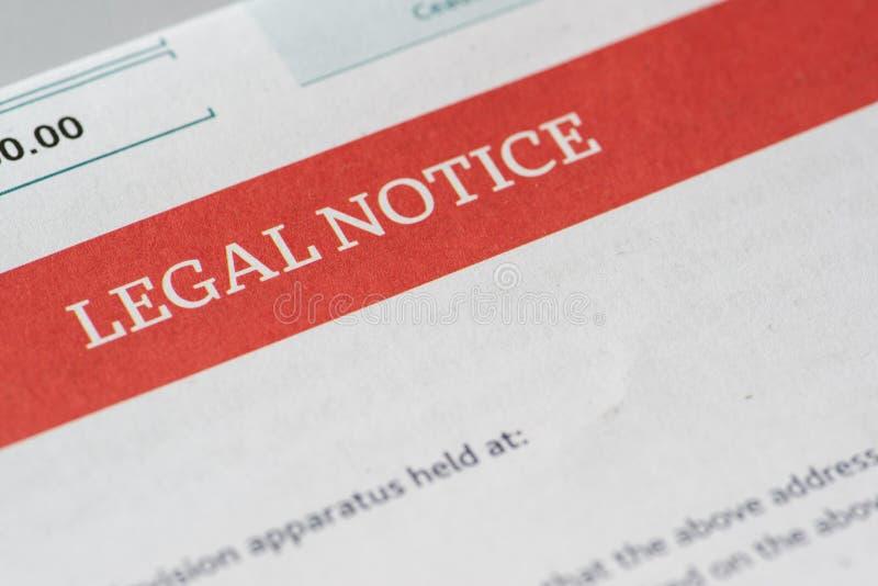 Juridische kennisgeving stock afbeelding