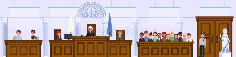 Juridisk domstolinre Domaren och juryn sitter i rättssalen royaltyfri illustrationer