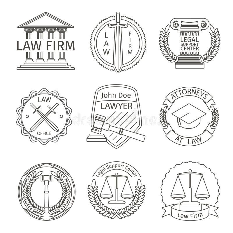 Juridiska och lagliga logobeståndsdelar i linjen stil vektor illustrationer