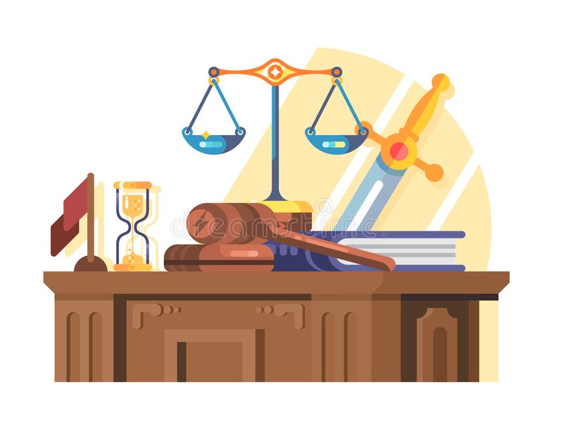 Jurisprudence court and law concept flat. Legal justice and gavel legislation authority, scales of justice, vector illustration stock illustration