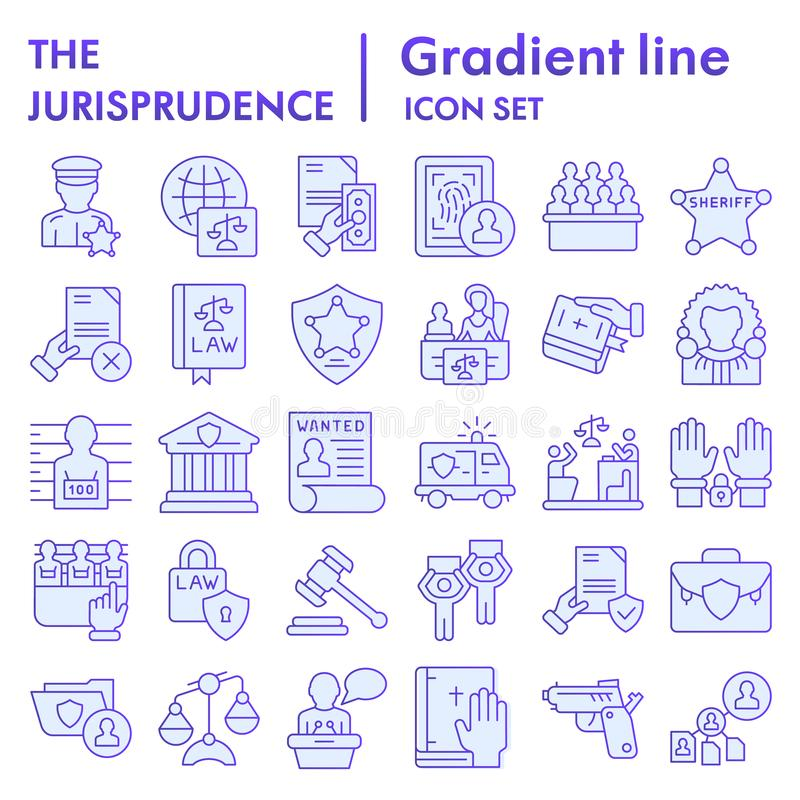Jurisprudence flat icon set, law symbols collection, vector sketches, logo illustrations, court signs blue gradient. Pictograms package isolated on white royalty free illustration