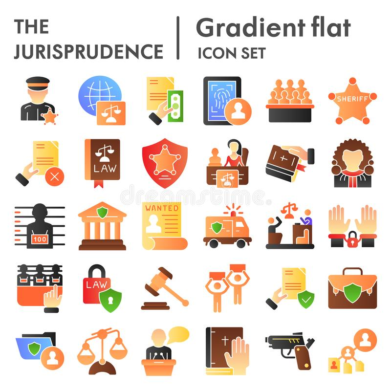 Jurisprudence flat icon set, law symbols collection, vector sketches, logo illustrations, court signs color gradient. Pictograms package isolated on white stock illustration