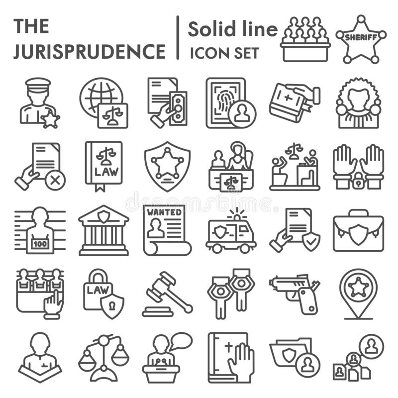 Jurisprudence line icon set, lawsymbols collection, vector sketches, logo illustrations, court signs linear pictograms. Package isolated on white background stock illustration