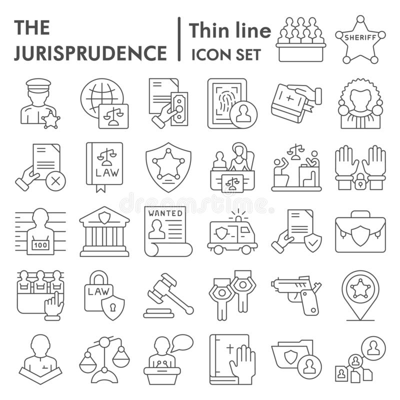 Jurisprudence thin line icon set, lawsymbols collection, vector sketches, logo illustrations, court signs linear. Pictograms package isolated on white vector illustration