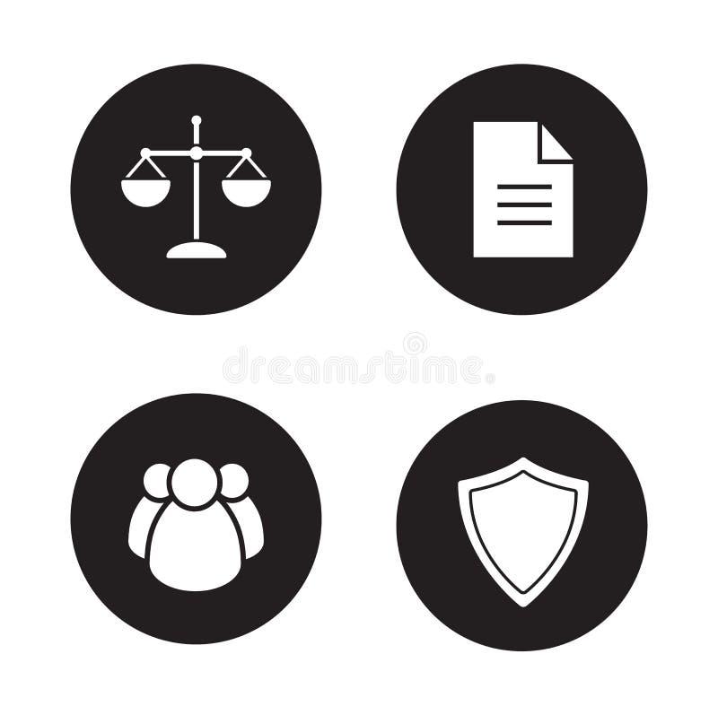 Jurisprudentie en wets zwarte geplaatste pictogrammen vector illustratie