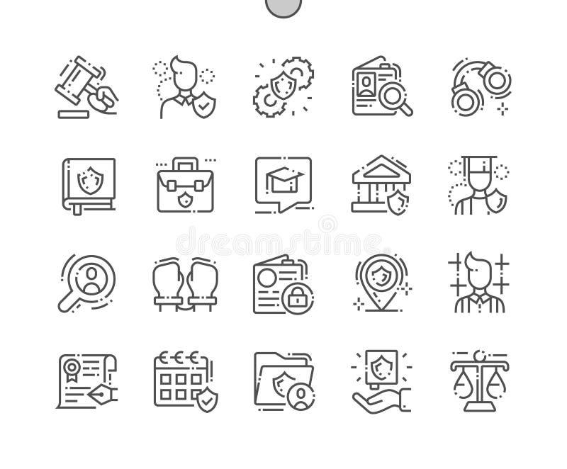 Jurisprudentie goed-Bewerkte Pictogrammen 30 van de Pixel Perfecte Vector Dunne Lijn 2x-Net voor Webgrafiek en Apps stock illustratie