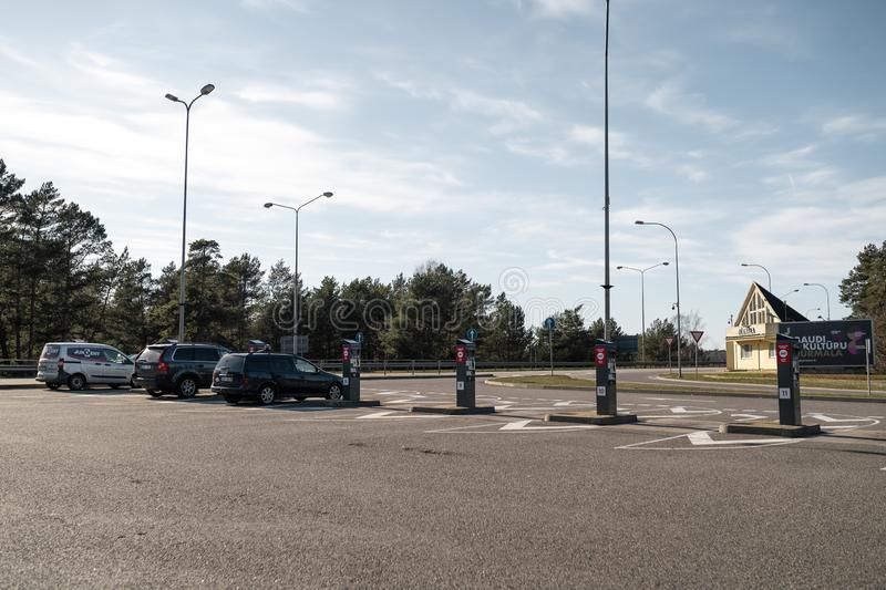 JURMALA, LATVIA - APRIL 2, 2019: People are paying 2 EUR to enter the city stock photo